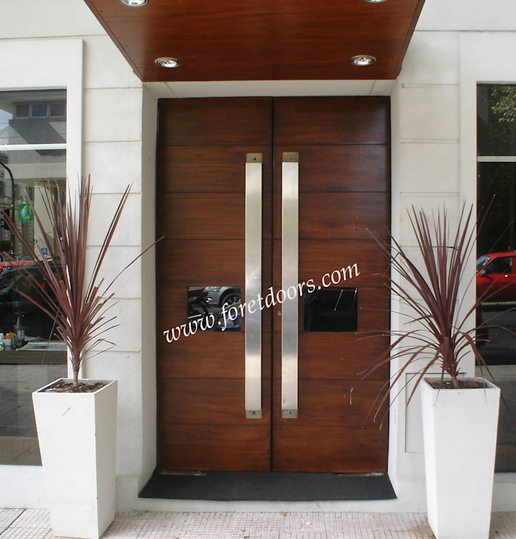 Modern double entry door with custom stainless steel pulls: modern  by Foret Doors, Modern Solid Wood Multicolored