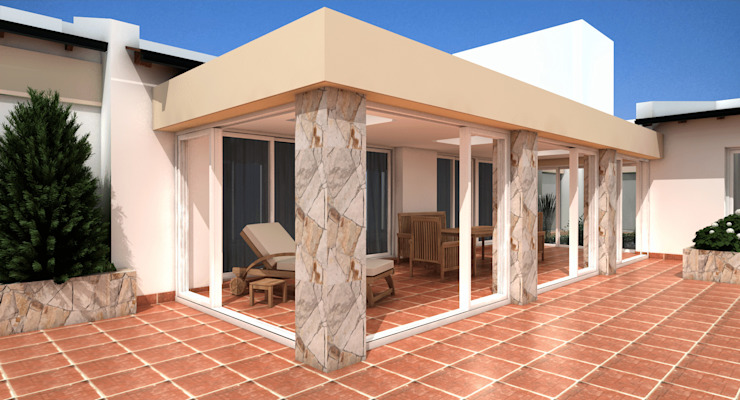 Propuesta Ángulo Livings de estilo moderno de JIEarq Moderno Aluminio/Cinc