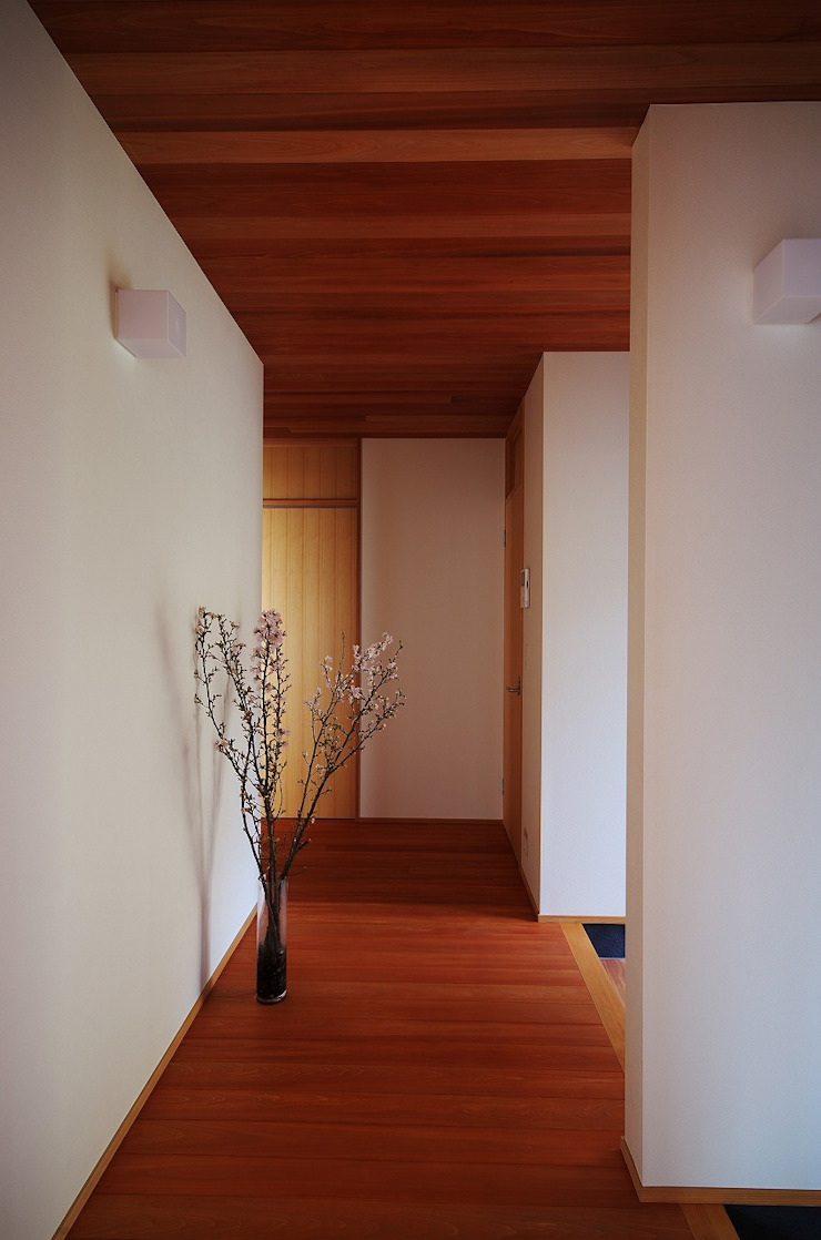 Modern Corridor, Hallway and Staircase by 岡本和樹建築設計事務所 Modern