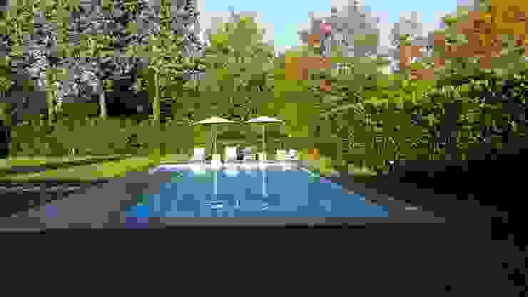 Piscina in calcestruzzo e rivestimento in gres lucido bianco iPOOL -Italian Pool Master Piscina moderna Cemento armato Blu