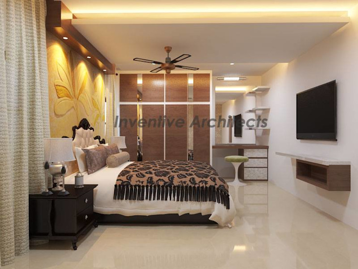 Interior Project for 3BHK Flat Inventivearchitects Asian style bedroom