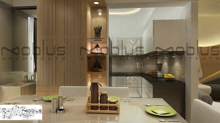 Rhythm Apartment Modern dining room by Mobius Architects Modern