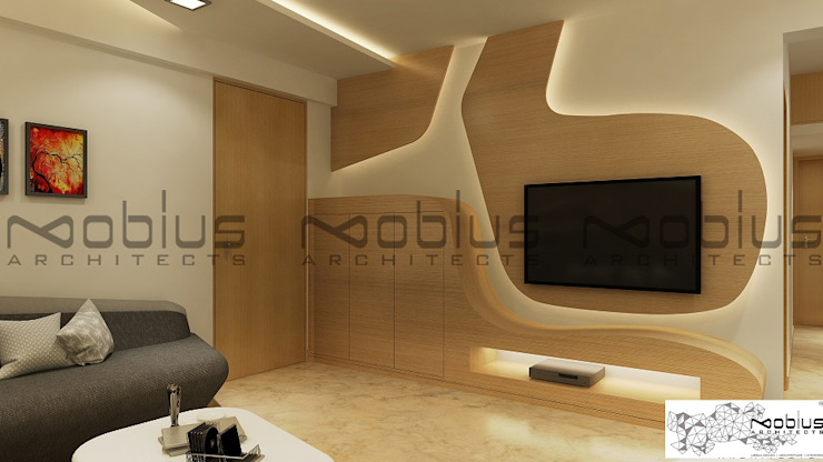 Rhythm Apartment Modern living room by Mobius Architects Modern