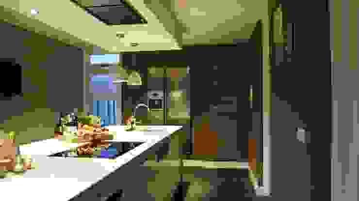 Moderne woonkeuken met kookeiland, quooker en Amerikaanse koelkast in nis Moderne keukens van Langens & Langens BV Modern