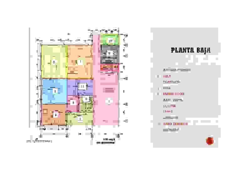Distribucion de los espacios en la Vivienda en Planta Baja MAS ARQUITECTURA1 - Arq. Marynes Salas Casas modernas