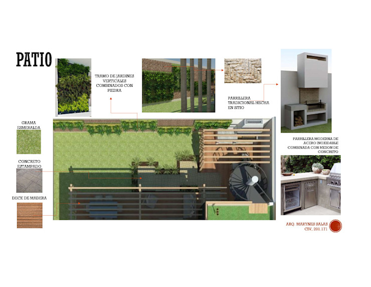 INTERIORISMO DE UNA VIVIENDA UNIFAMILIAR MAS ARQUITECTURA1 - Arq. Marynes Salas Jardines de estilo moderno