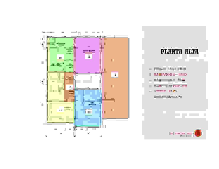 Distribucion de los espacios en la Vivienda en Planta Alta MAS ARQUITECTURA1 - Arq. Marynes Salas Casas modernas