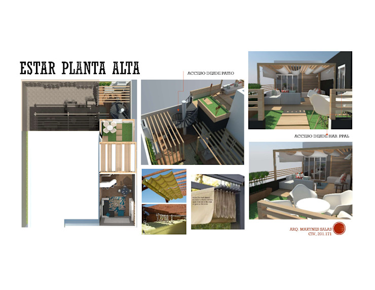 INTERIORISMO DE UNA VIVIENDA UNIFAMILIAR MAS ARQUITECTURA1 - Arq. Marynes Salas Balcones y terrazas de estilo moderno