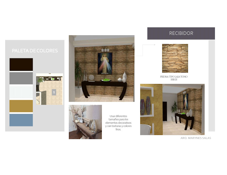 Loby MAS ARQUITECTURA1 - Arq. Marynes Salas Pasillos, vestíbulos y escaleras de estilo moderno