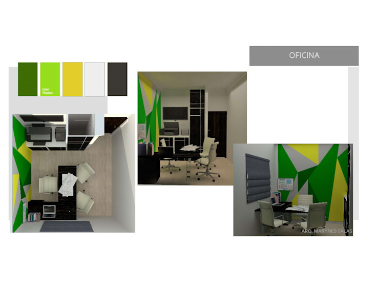Oficina Privada MAS ARQUITECTURA1 - Arq. Marynes Salas Oficinas de estilo moderno
