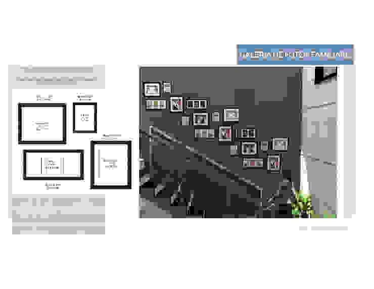 Collage de fotos en pared MAS ARQUITECTURA1 - Arq. Marynes Salas Pasillos, vestíbulos y escaleras de estilo moderno