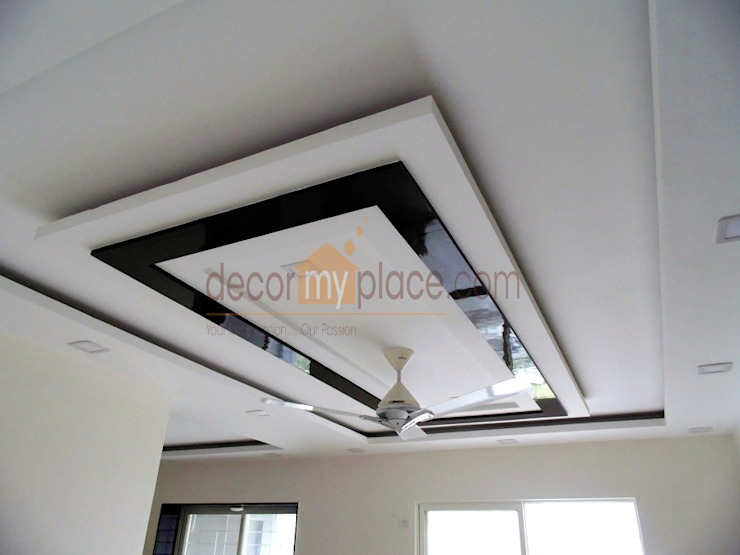 FALSE CEILING Modern living room by decormyplace Modern Plywood