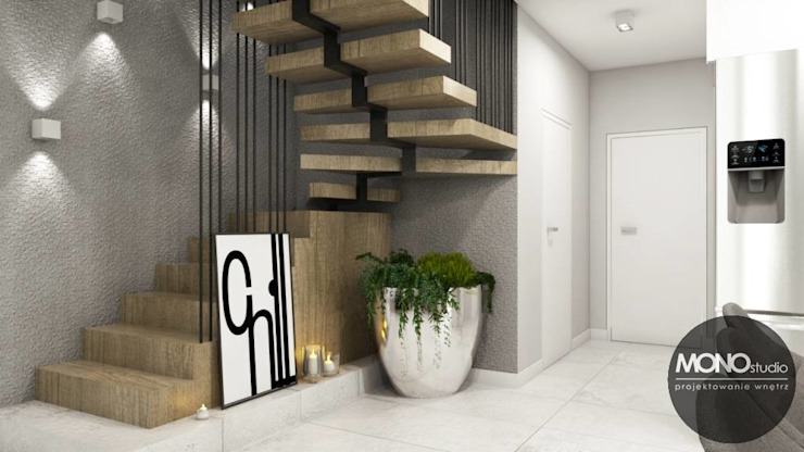 Minimalist corridor, hallway & stairs by MONOstudio Minimalist