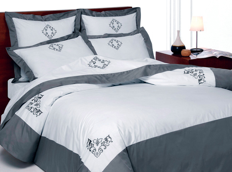 Venezia pure cotton hand embroidered bed linen King of Cotton DormitoriosTextiles Algodón Gris