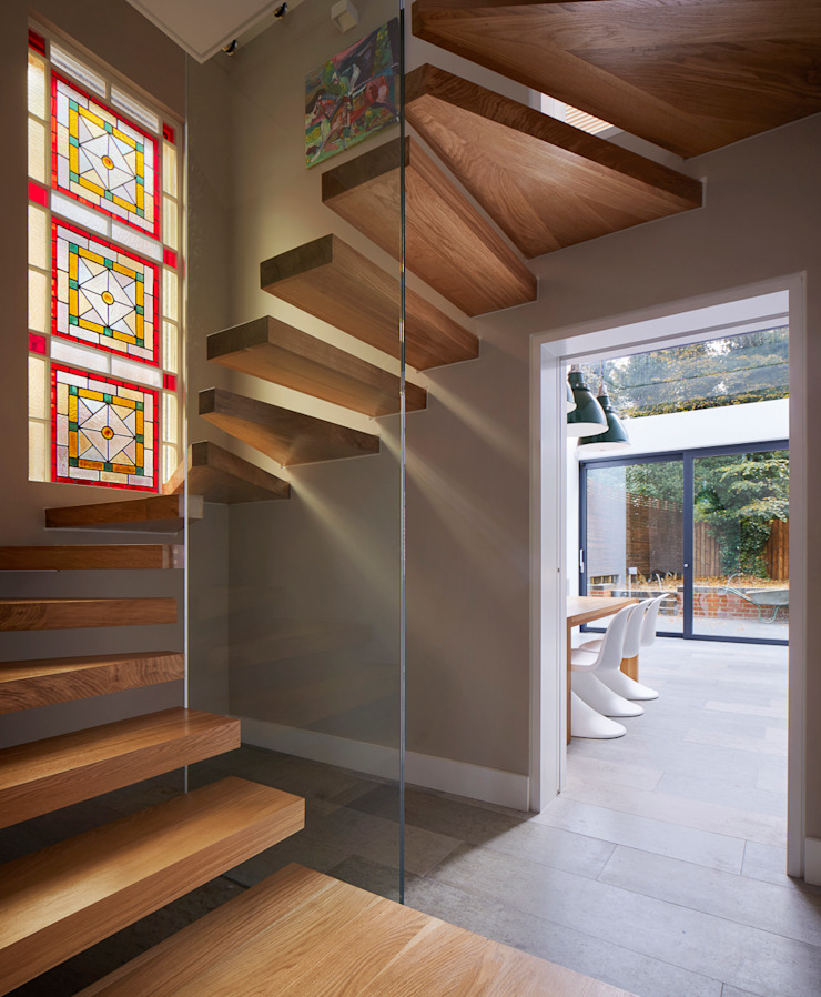 Church Crescent Staircase Andrew Mulroy Architects Moderner Flur, Diele & Treppenhaus