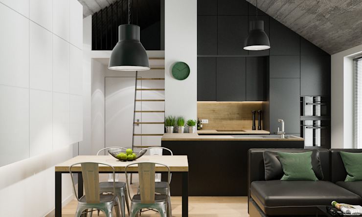 Comedores de estilo industrial de PRØJEKTYW | Architektura Wnętrz & Design Industrial