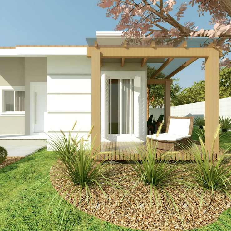 Rustic style garage/shed by Cíntia Schirmer   arquiteta e urbanista Rustic Wood Wood effect