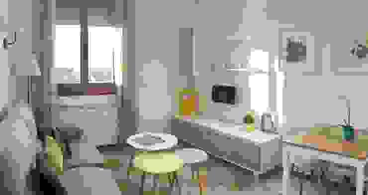 Salon en blanco y roble Noelia Villalba Salones de estilo escandinavo