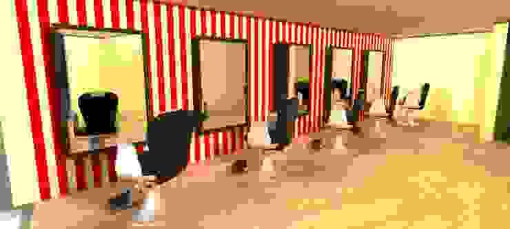 render esapcio para barberos Estudios y despachos de estilo moderno de Camargo estudio creativo Moderno Madera Acabado en madera