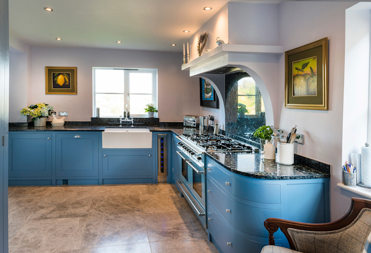 French farm house blue Country style kitchen by Auspicious Furniture Country Wood Wood effect