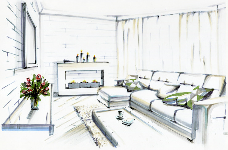 Salon minimaliste par Студия дизайна интерьера 'Золотое сечение' Minimaliste Briques