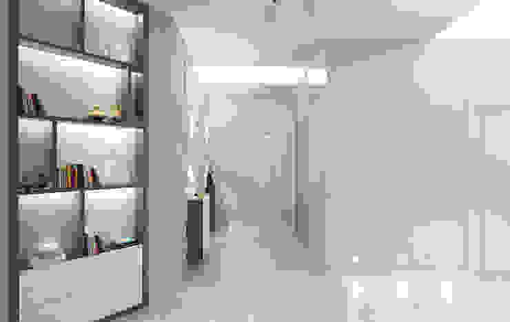 Couloir, entrée, escaliers minimalistes par Студия дизайна интерьера 'Золотое сечение' Minimaliste Pierre