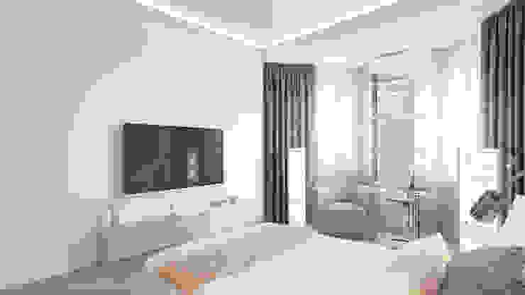 Chambre minimaliste par Студия дизайна интерьера 'Золотое сечение' Minimaliste Pierre