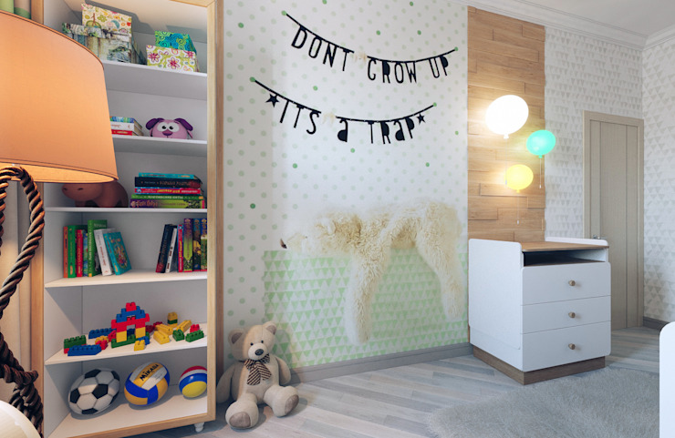 Chambre d'enfant minimaliste par Студия дизайна интерьера 'Золотое сечение' Minimaliste Bois d'ingénierie Transparent