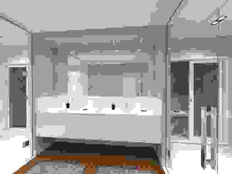 Vista 02 - Corpo Principal Jeffer Henrich Banheiros minimalistas Madeira maciça Branco