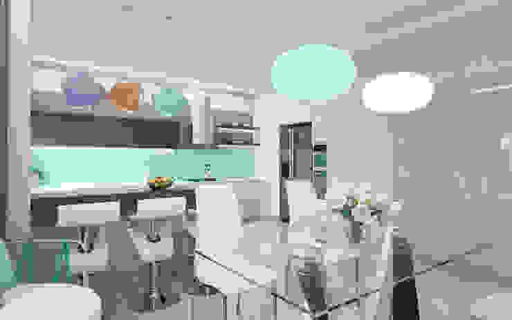 Cocinas de estilo minimalista de Студия дизайна интерьера 'Золотое сечение' Minimalista Cerámico