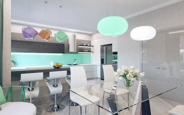 Minimalistische keukens van Студия дизайна интерьера 'Золотое сечение' Minimalistisch Keramiek