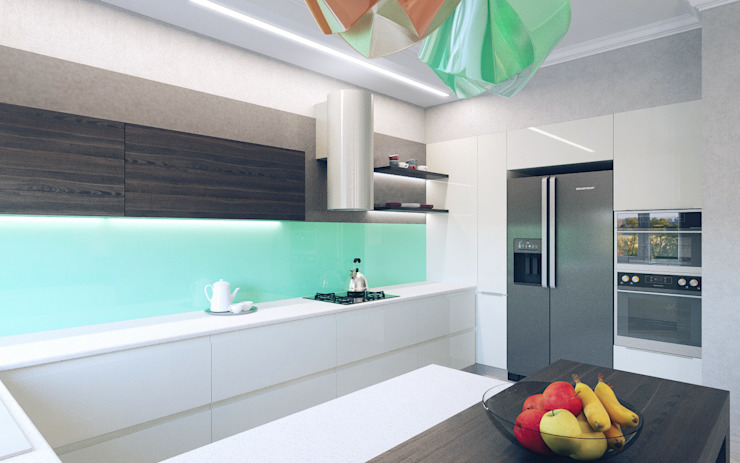Cuisine minimaliste par Студия дизайна интерьера 'Золотое сечение' Minimaliste Marbre