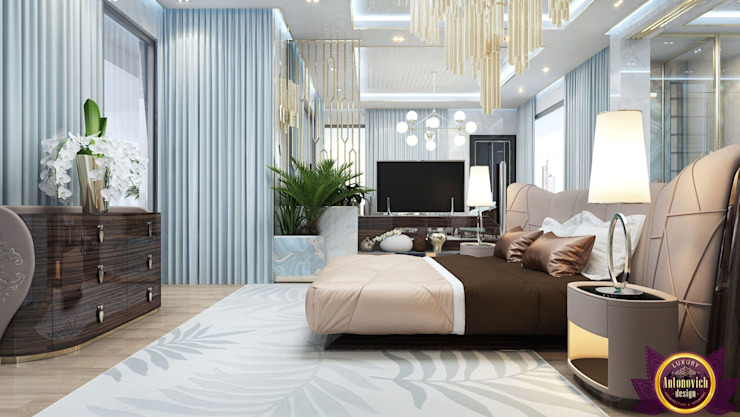 Interiors ideas for large bedroom of Katrina Antonovich Modern style bedroom by Luxury Antonovich Design Modern