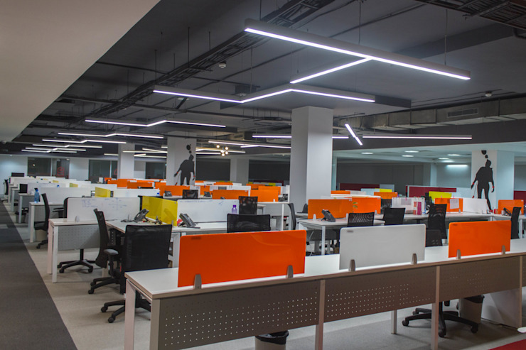 Snapdeal Commercial Space Project Modern offices & stores by Praxis Design & Building Solutions Pvt Ltd Modern Wood Wood effect