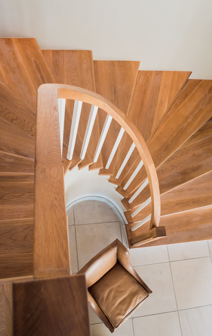 Spiral Timber Staircase Country style corridor, hallway& stairs by Tim Ziehl Architects Country