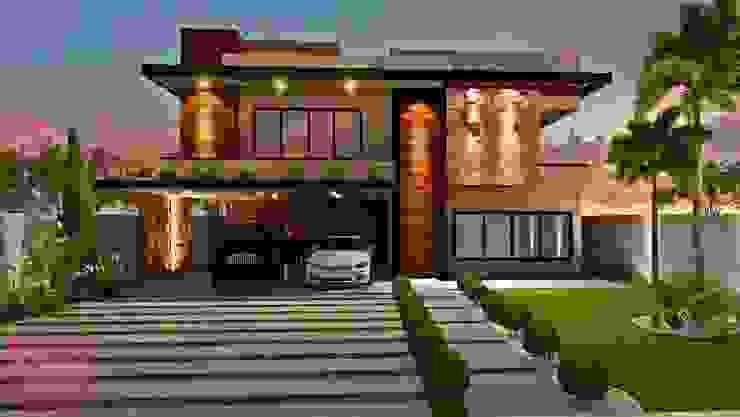Fachada residencial moderna Casas modernas por Deborah Iachinski Arquitetura & Interiores Moderno
