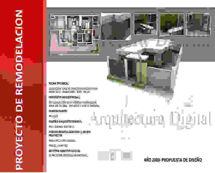 REMODELACION DE VIVIENDA UNIFAMILIAR ARQUITECTURA DIGITAL Casas modernas Concreto Ámbar/Dorado