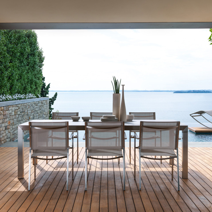 Modern design outdoor stainless steel extendable table Patch de Viadurini.co.uk Moderno Aluminio/Cinc