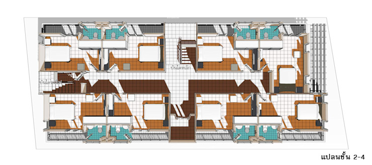 แบบอาคารพักอาคัย 5 ชั้น 29 ห้องนอน: ผสมผสาน  โดย th-design, ผสมผสาน