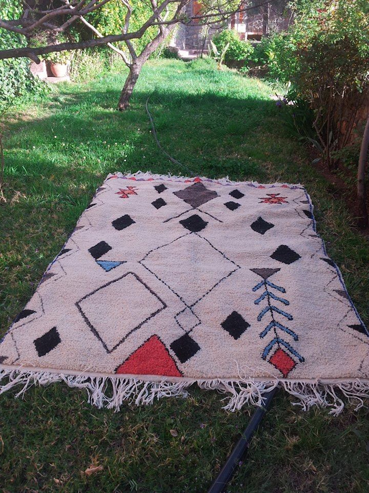 Azilal Berber Carpet: mediterranean  by BOHOZOO,Mediterranean Wool Orange