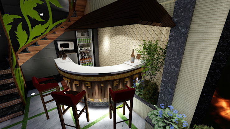 Outdoor Terrace Bar Designers. Modern balcony, veranda & terrace by Studio Machaan Modern