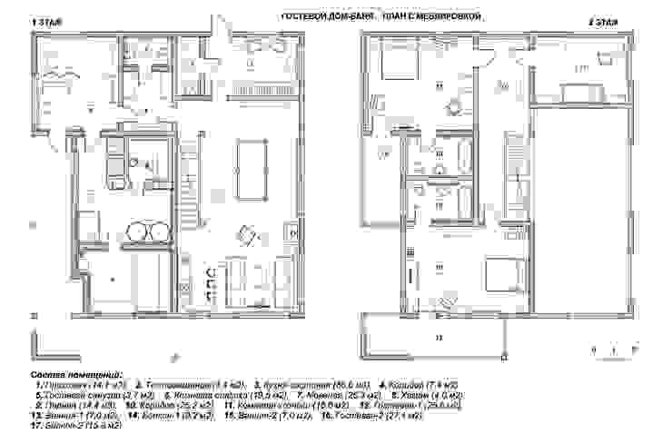 Гостевой дом-баня. План с меблировкой от Эдуард Григорьев (daproekt)