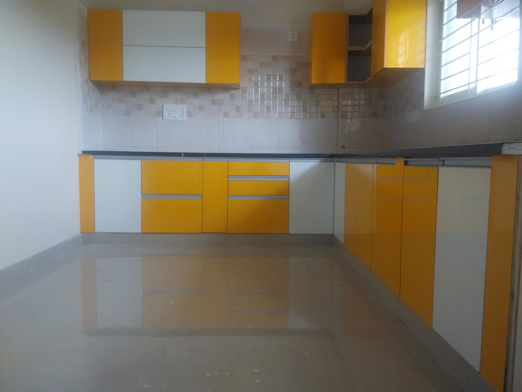 A 3 BHK Flat Asian style kitchen by Exinfra Projects Asian Plywood
