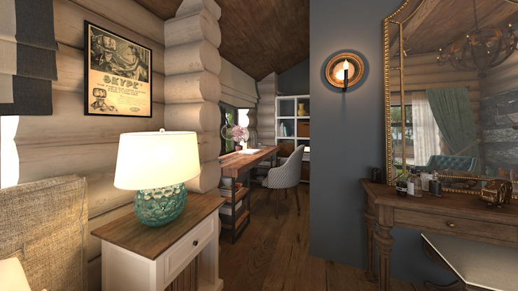 Rustic style study/office by atmosvera Rustic Wood Wood effect