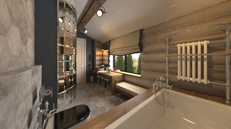 Rustic style bathroom by atmosvera Rustic Wood Wood effect