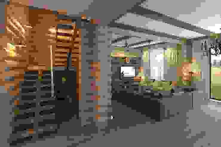 Pasillos, halls y escaleras rústicos de atmosvera Rústico Madera Acabado en madera