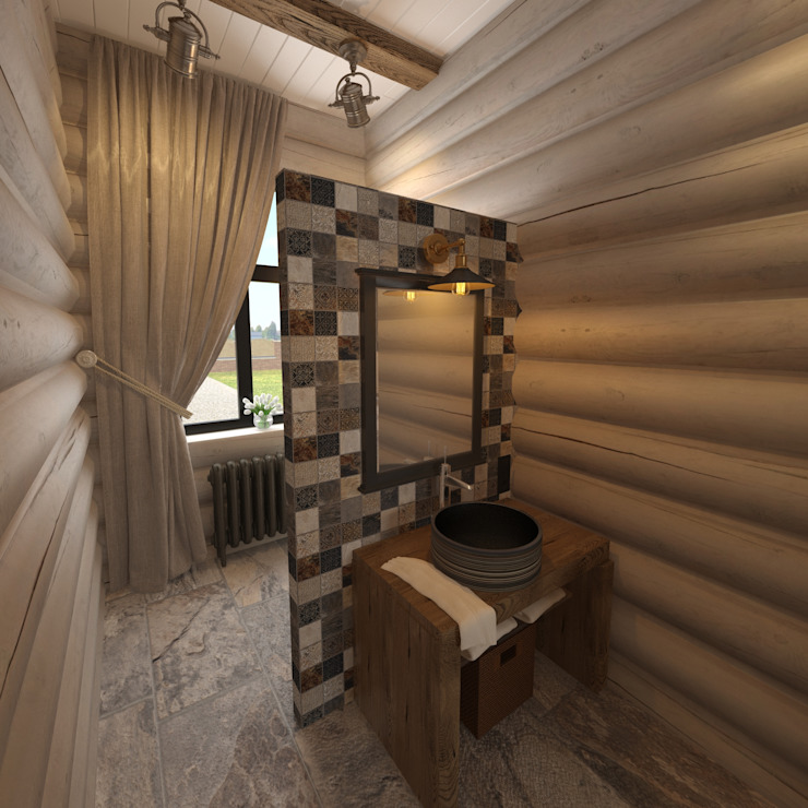 Baños de estilo rústico de atmosvera Rústico Madera Acabado en madera