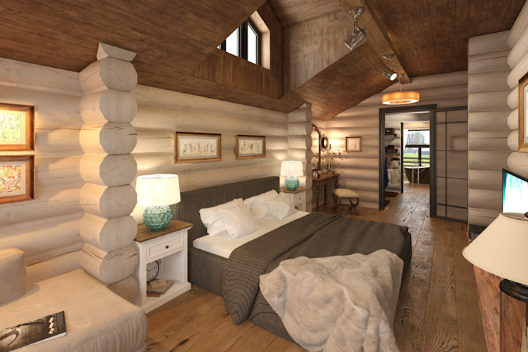 Rustic style bedroom by atmosvera Rustic Wood Wood effect