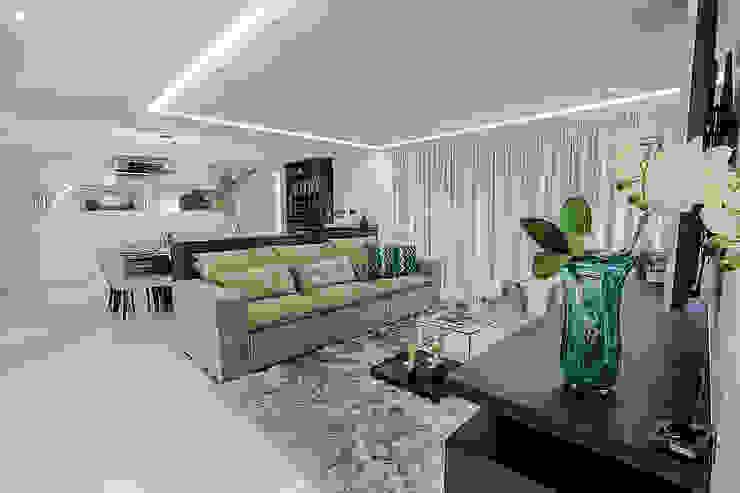 Integração Sala de Estar e Jantar Carolina Fontes Arquitetura Salas de estar modernas