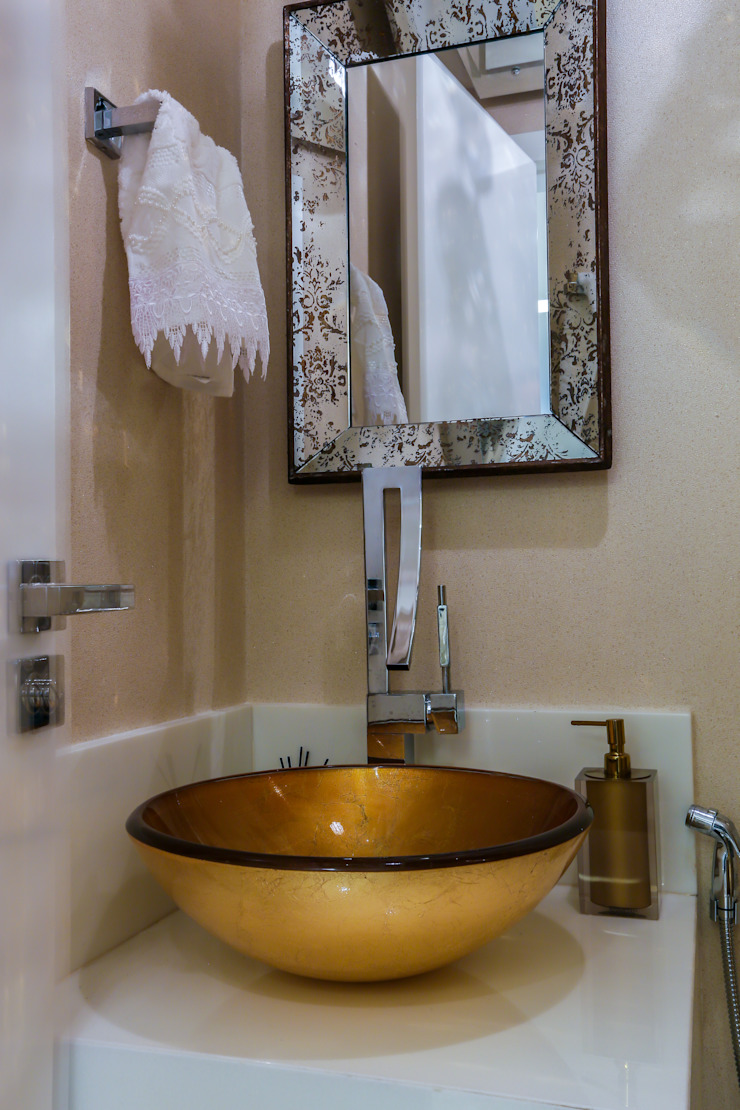 Detalhe no Lavabo Carolina Fontes Arquitetura Banheiros modernos
